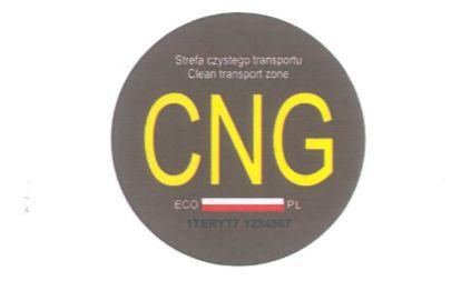 Wzór nalepki do oznaczania pojazdów napędzanych CNG.