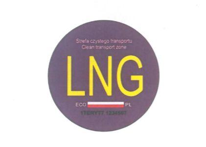 Wzór nalepki do oznaczania pojazdów napędzanych LNG.