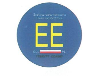 Wzór nalepki do oznaczania pojazdów elektrycznych.