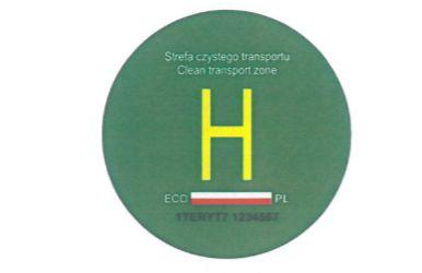 Wzór nalepki do oznaczania pojazdów napędzanych wodorem.