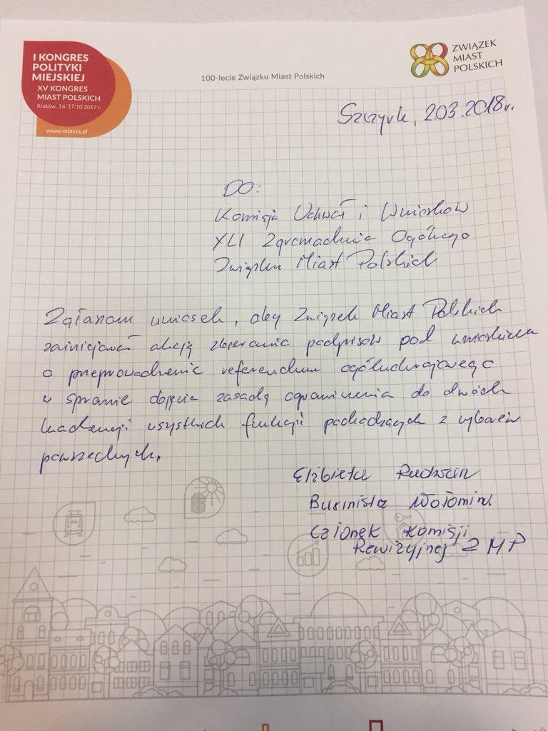 Wniosek E. Radwan ws. akcji zbierania podpisów pod wnioskiem o referendum (fot. Twitter)