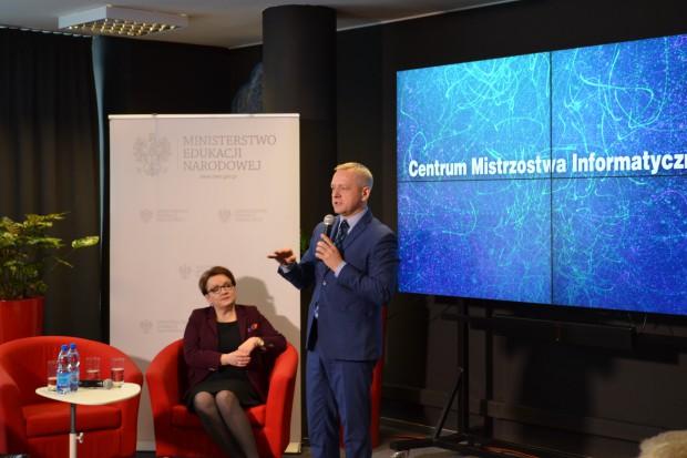 W siedzibie MC założenia CMI zaprezentowali ministrowie Anna Zalewska (MEN), Paweł Chorąży (MIiR) i Marek Zagórski (MC). fot.Ministerstwo Cyfryzacji