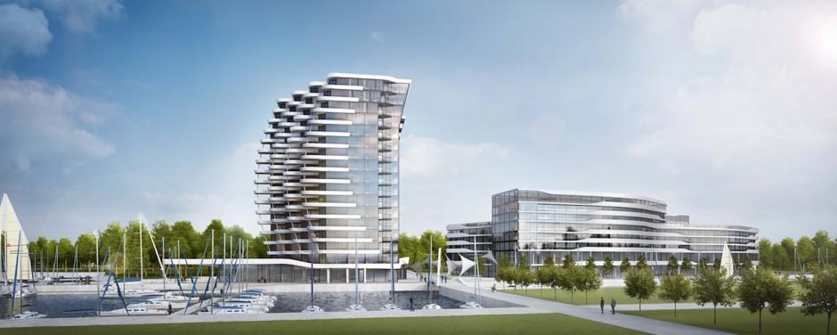 Apartamenty Spinaker i hotel Meritim po prawej stronie (fot.Tian Yu/Propertynews.pl)