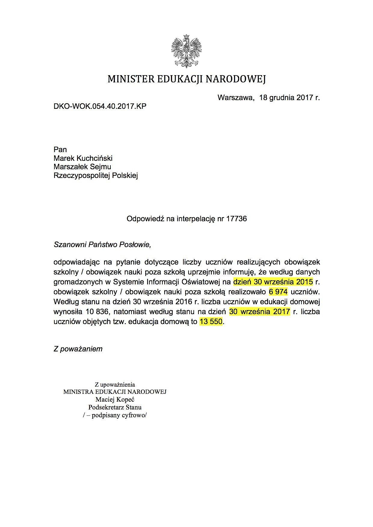 Pismo z MEN dotyczące liczby uczniów realizujących obowiązek szkolny w ramach edukacji domowej (fot.twitter.com/gajewska_kinga)