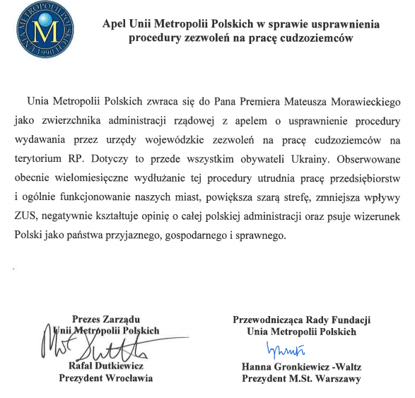 Dane: Unia Metropolii Polskich