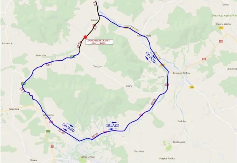 Jadąc w kierunku Zakopanego kierowcy będą korzystać z objazdu: od węzła Lubień na S7 drogą wojewódzką nr 968 w kierunku Mszany Dolnej i dalej DK28 do Skomielnej Białej.