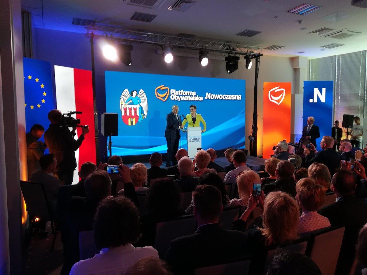 Oficjalne poparcie dla Rafała Bruskiego w wyborach samorządowych ogłosili przewodniczący PO Grzegorz Schetyna oraz przewodnicząca Nowoczesnej Katarzyna Lubnauer (fot.twitter.com/Nowoczesna)