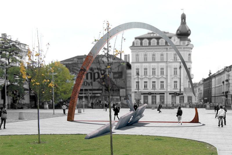 Pomnik ma formę stalowego łuku sięgającego w najwyższym punkcie 9,2 metra od poziomu placu, który wznosi się nad pochylonymi betonowymi płytami symbolizującymi obalenie muru berlińskiego (fot.krakow.pl)