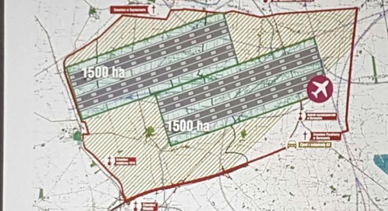 Oto prawdopodobna lokalizacja CPK. (Źródło: Stowarzyszenie Zanim Powstanie Lotnisko)