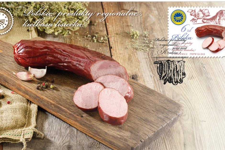 Kiełbasa lisiecka, małopolski produkt regionalny na znaczku pocztowym