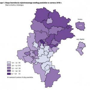 Województwo śląskie    W końcu czerwca 2018 r. na Śląsku stopa bezrobocia wyniosła 4,5 proc. (w kraju – 5,9 proc.) i ukształtowała się na niższym poziomie niż przed rokiem o 1,2 punktu procentowego oraz na niższym niż w końcu maja br. o 0,2 punktu procentowego   Najwyższą stopę bezrobocia zanotowano w Bytomiu (9,9 proc. wobec 13,3 proc. w końcu czerwca 2017 r.) oraz powiecie będzińskim (8,2 proc. wobec 9,7 proc.). Natomiast najniższą mamy w Katowicach (1,8 proc. wobec 2,5 proc.) i Bielsku-Białej (2,1 proc. wobec 2,8 proc.).   W porównaniu z końcem czerwca 2017 r. roku stopa bezrobocia obniżyła się we wszystkich powiatach, w tym w największym stopniu w Bytomiu (o 3,4 punktu procentowego) i w powiecie myszkowskim (o 2,8 punktu procentowego). (Fot. Urząd Statystyczny w Katowicach)