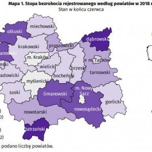 Województwo małopolskie    W województwie małopolskim w czerwcu 2018 r. stopa bezrobocia wyniosła 4,8 proc. i tym samym spadła zarówno w ujęciu rocznym (o 0,8 punktu procentowego), jak i w skali miesiąca (o 0,1 punktu procentowego).   Do powiatów o najwyższej stopie bezrobocia należały dąbrowski (10,9 proc. wobec 12,0 proc. w czerwcu 2017 r.), tatrzański (9,8 proc. wobec 10,7 proc.), chrzanowski (8,0 proc. wobec 9,3 proc.) oraz nowosądecki (7,9 proc., rok wcześniej – 8,8 proc.), a o najniższej – miasto Kraków (2,5 proc. wobec 3,1 proc. w czerwcu 2017 r.). (Fot. Urząd Statystyczny w Krakowie)