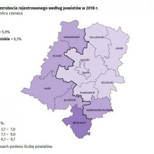 Województwo opolskie    W czerwcu 2018 r. stopa bezrobocia w Opolskiem wyniosła 6,1 proc. i była niższa o 1,6 punktu procentowego niż przed rokiem, a o 0,2 punktu procentowego w porównaniu z majem 2018 r.   Do powiatów o najwyższej stopie bezrobocia należały: głubczycki (9,7 proc. wobec 11,5 proc. w czerwcu 2017 r.), brzeski (8,4 proc. wobec 11,7 proc.) oraz prudnicki (8,3 proc. wobec 10,4 proc.), a o najniższej – m. Opole (3,7 proc. wobec 4,6 proc.).   W skali roku stopa bezrobocia zmniejszyła się we wszystkich powiatach. Największy spadek odnotowano w powiecie brzeskim (o 3,3 punktu procentowego), nyskim (o 2,6 punktu procentowego) oraz namysłowskim (o 2,5 punktu procentowego). (Fot. Urząd Statystyczny w Opolu)