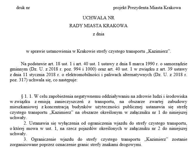 Zarządzenie prezydenta miasta w sprawie przyjęcia i przekazania pod obrady Rady Miasta Krakowa projektu uchwały zostało wydane 2 lipca.