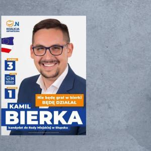 """Na zagrywkę nazwiskiem zdecydował się też kandydujący do rady miejskiej w Słupsku Kamil Bierka. """"Nie będę grał w bierki, będę działał"""" - zapowiada na plakacie."""