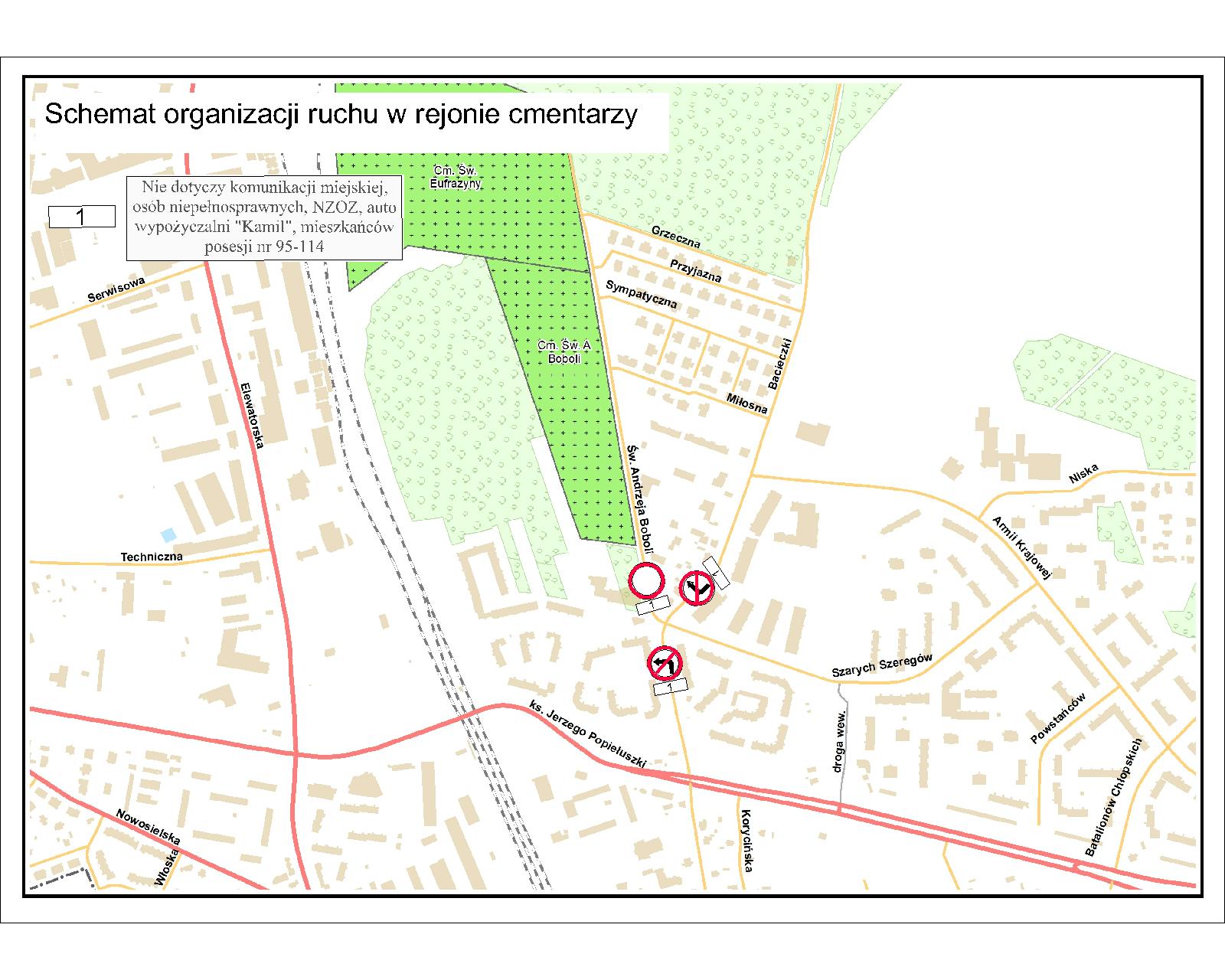 Organizacja ruchu na pierwszego listopada w okolicach białostockich cmentarzy (źródło: bialystok.pl)