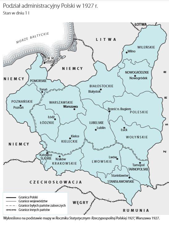 Podział administracyjny Polski w roku 1927.Źródło: GUS