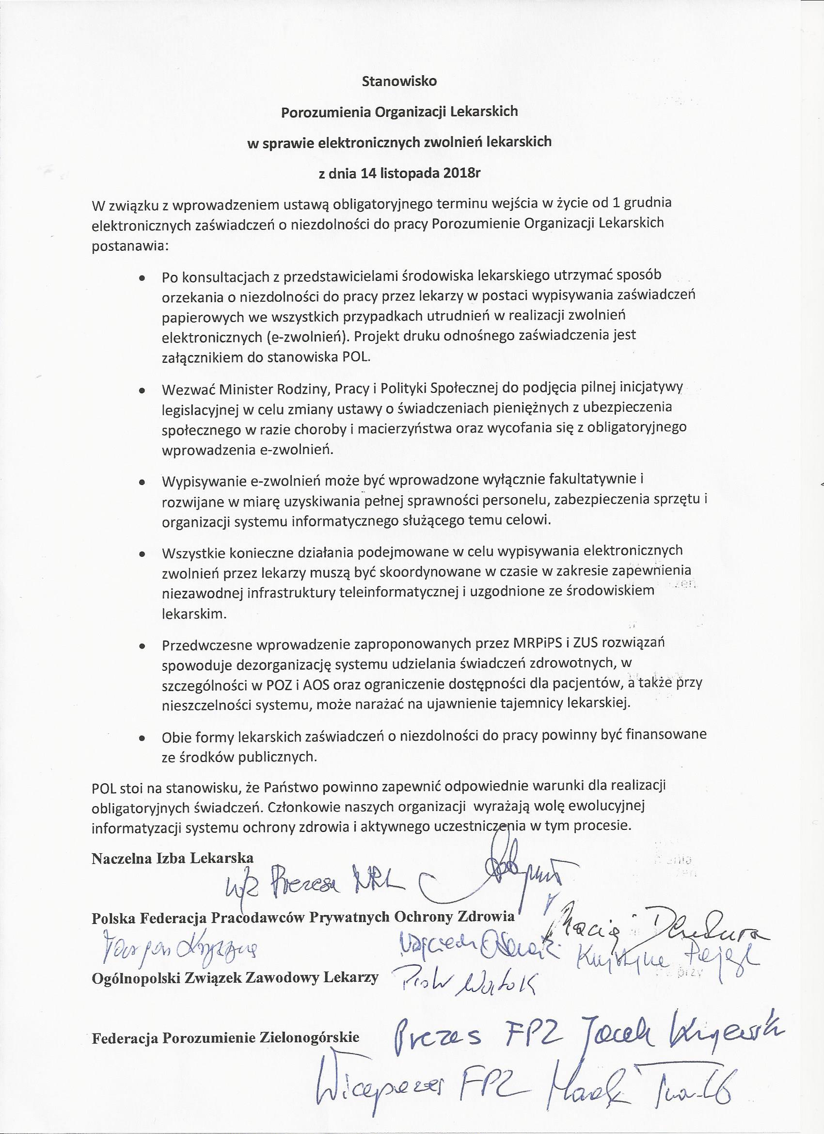 Stanowisko Porozumienia Organizacji Lekarskich ws e-zwolnień.jpg