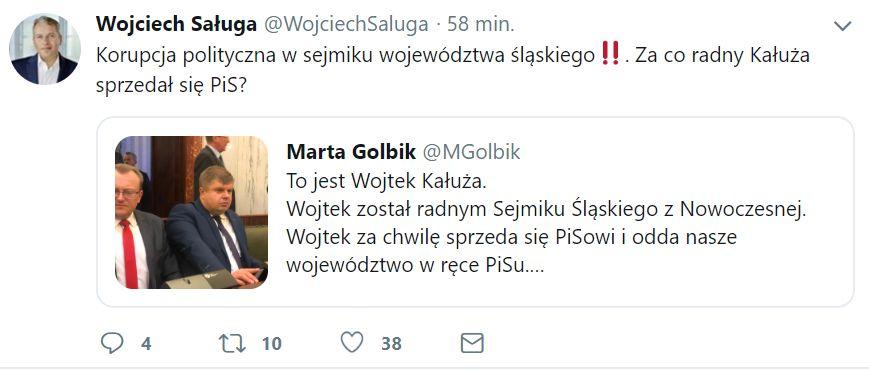 Sytuację w sejmiku skomentował Wojciech Saługa.