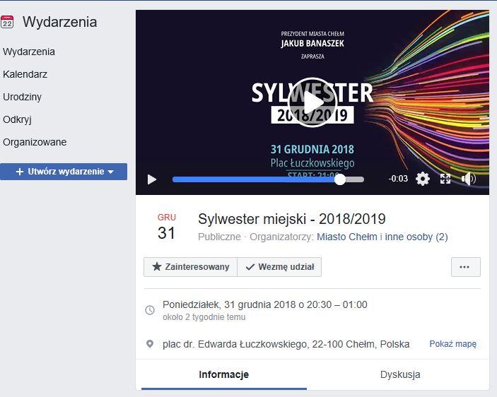 Sylwester w Chełmie wydarzeniem na FB