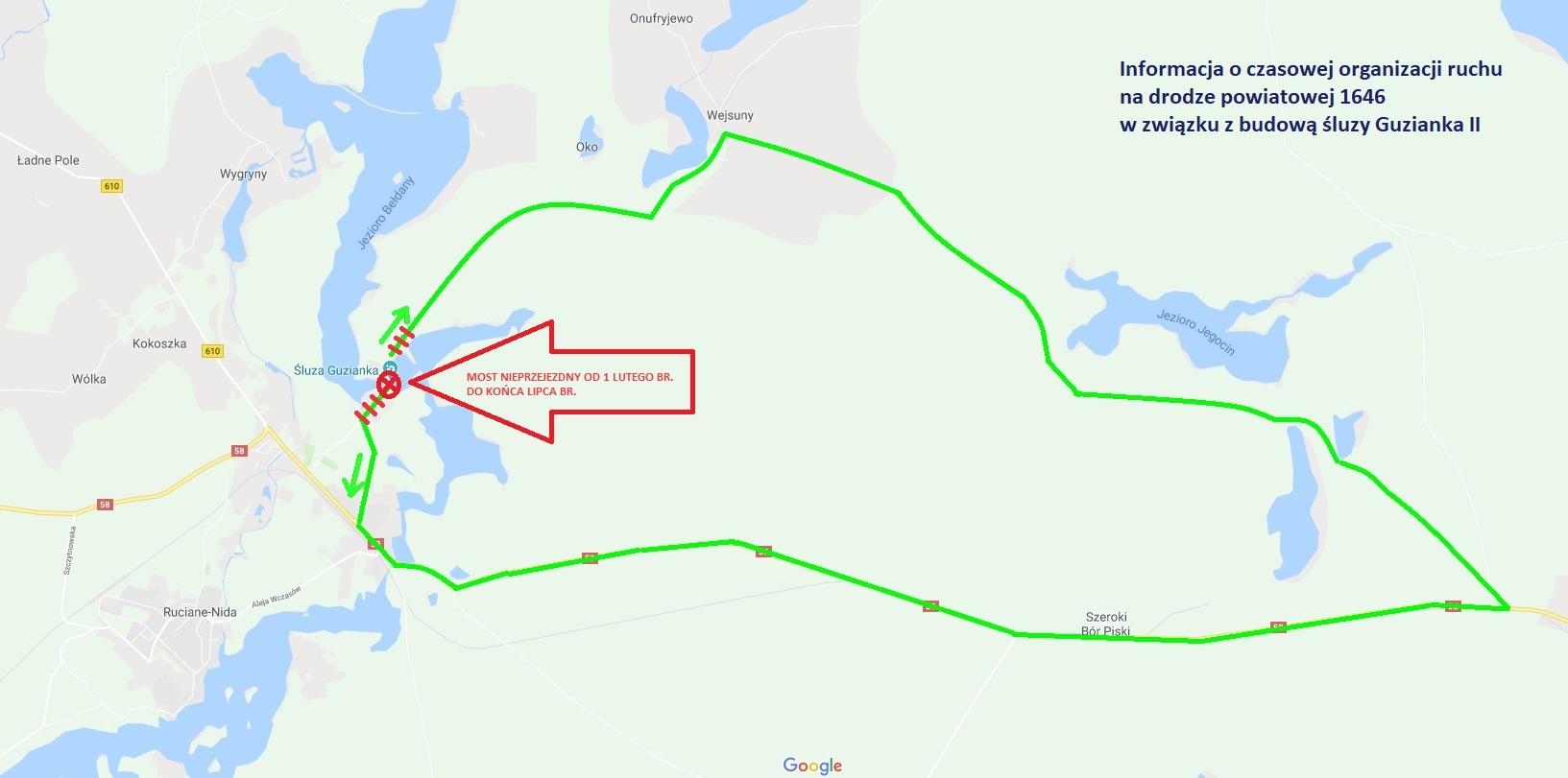 Dojazd z Rucianego-Nidy przez most na śluzie Guzianka do Wejsun będzie zamknięty od 1 lutego do końca lipca (fot.warszawa.rzgw.gov.pl)