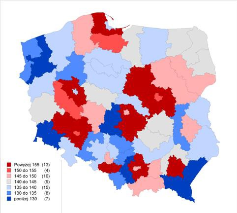 Realny wzrost PKB według podregionów w latach 2000–2010 (źródło: Raport Rozwój regionalny, polityka regionalna)