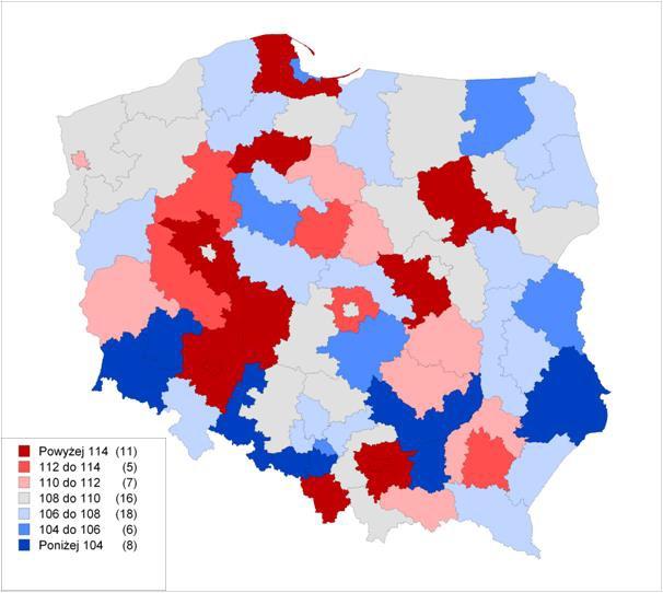 Realny wzrost PKB według podregionów w latach 2012–2015 (źródło: Raport Rozwój regionalny, polityka regionalna)