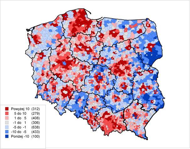 Zmiana liczby ludności w gminach w latach 2004–2017 w proc. (źródło: Raport Rozwój regionalny, polityka regionalna)