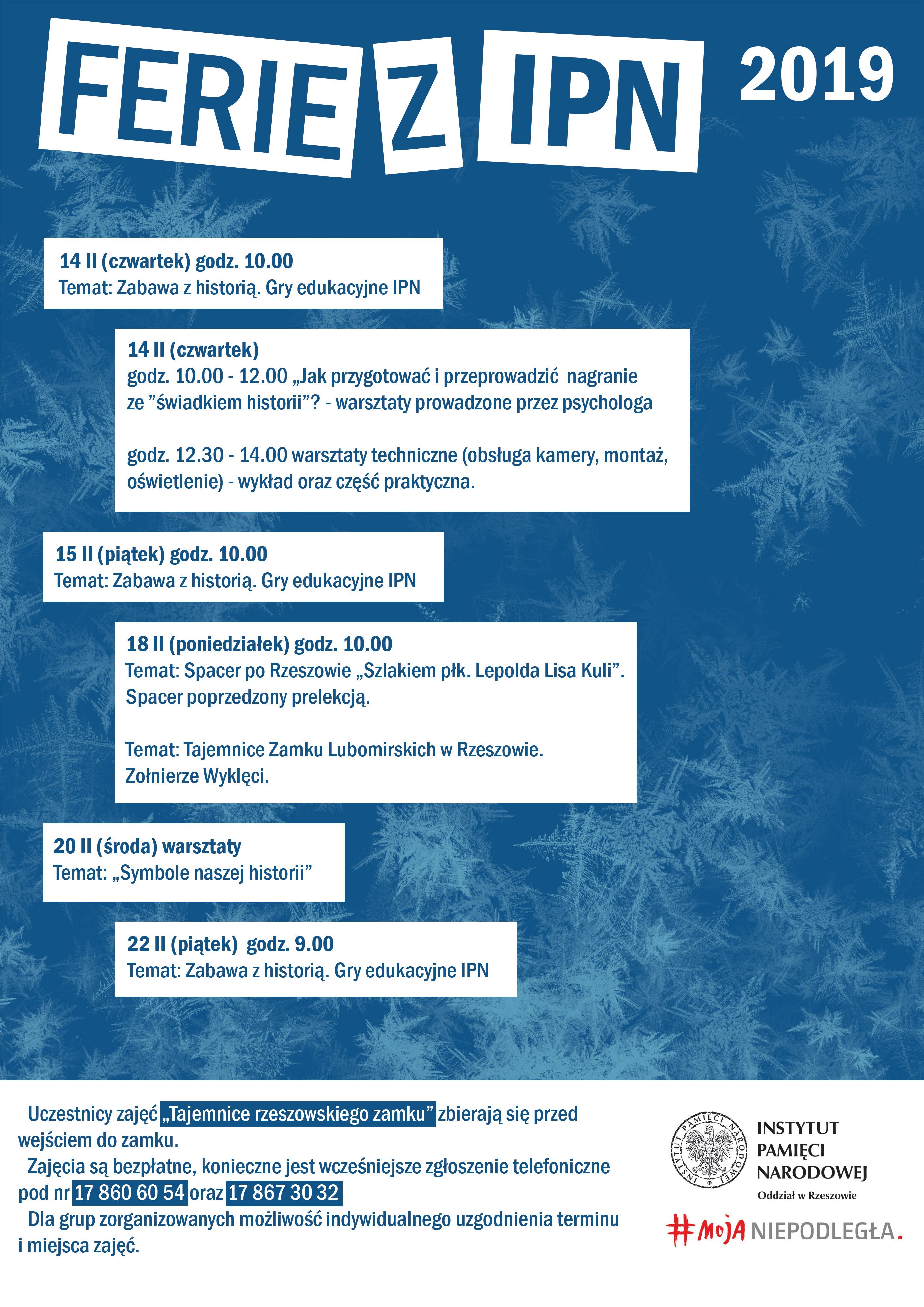 Ferie z IPN: Plan zajęć (fot. rzeszow.ipn.gov.pl)