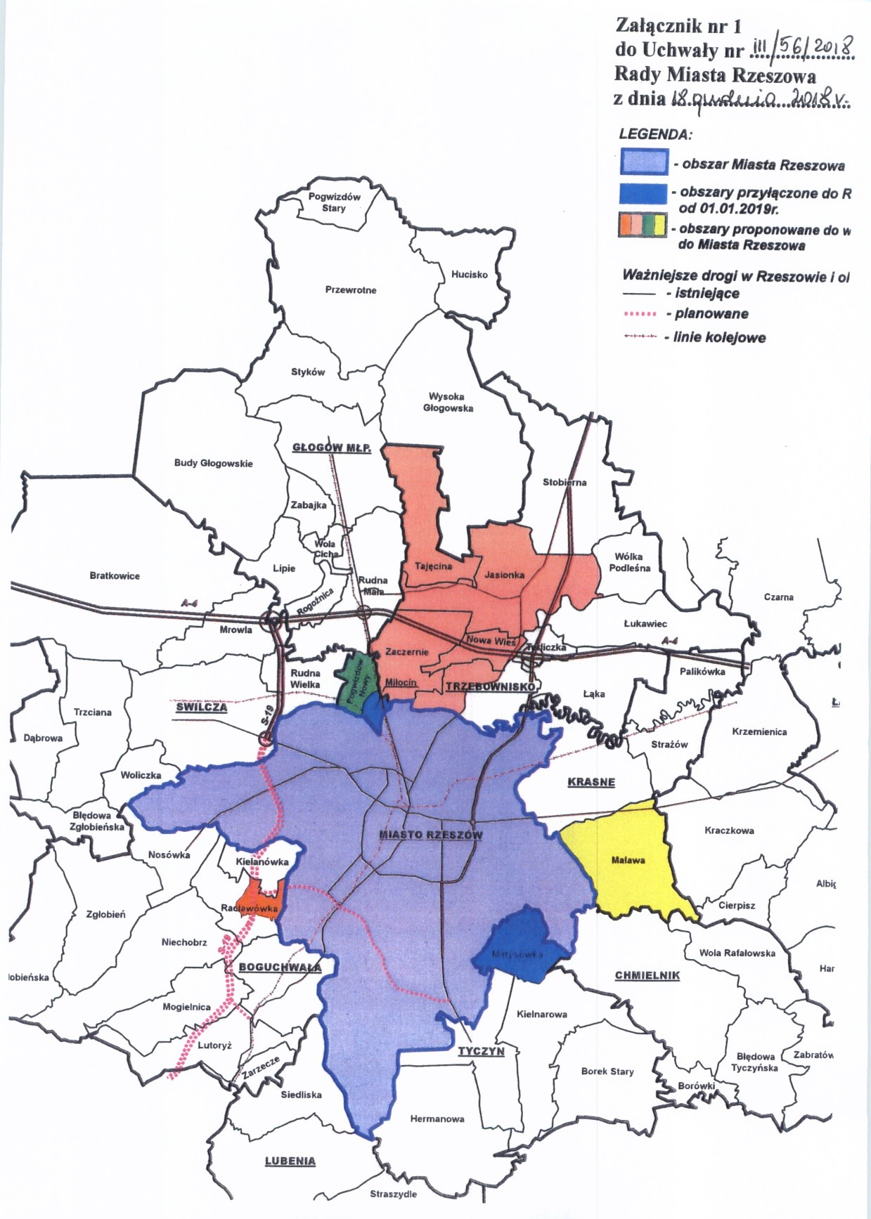 Proponowane obszary przyłączenia do miasta Rzeszowa (źródło: Uchwała nr III/562018 Rady Miasta Rzeszowa z dnia 18 grudnia 2018 r.)