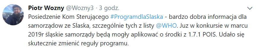 Bardzo dobra informacja dla samorządów ze Śląska - napisał Piotr Woźny na twitterze.