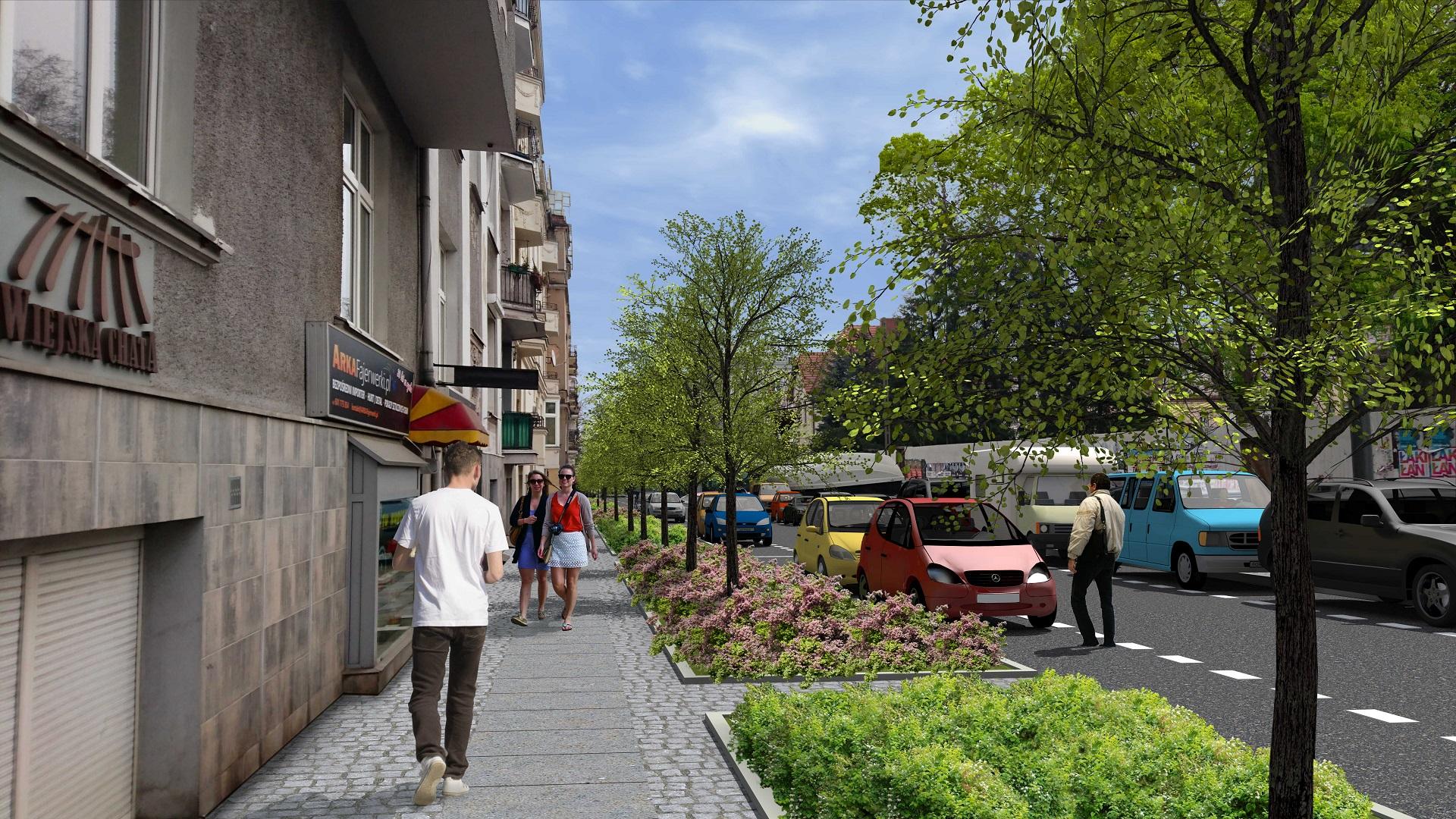 Celem zmian jest poprawa przestrzeni, po której poruszają się piesi oraz zwiększenie ilości zieleni na ulicy - przy równoczesnym uwzględnieniu potrzeb kierowców i rowerzystów (fot.poznan.pl)