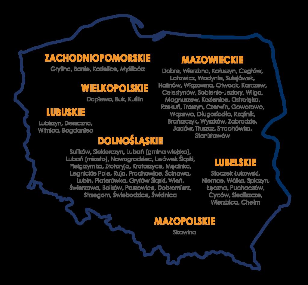 Pełna lista gmin dostępna jest na www.wzmocnijotoczenie.pl