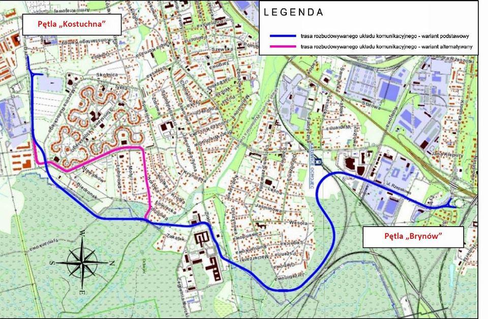 Mapa trasy tramwaju na południe Katowic (źródło: UM Katowice)