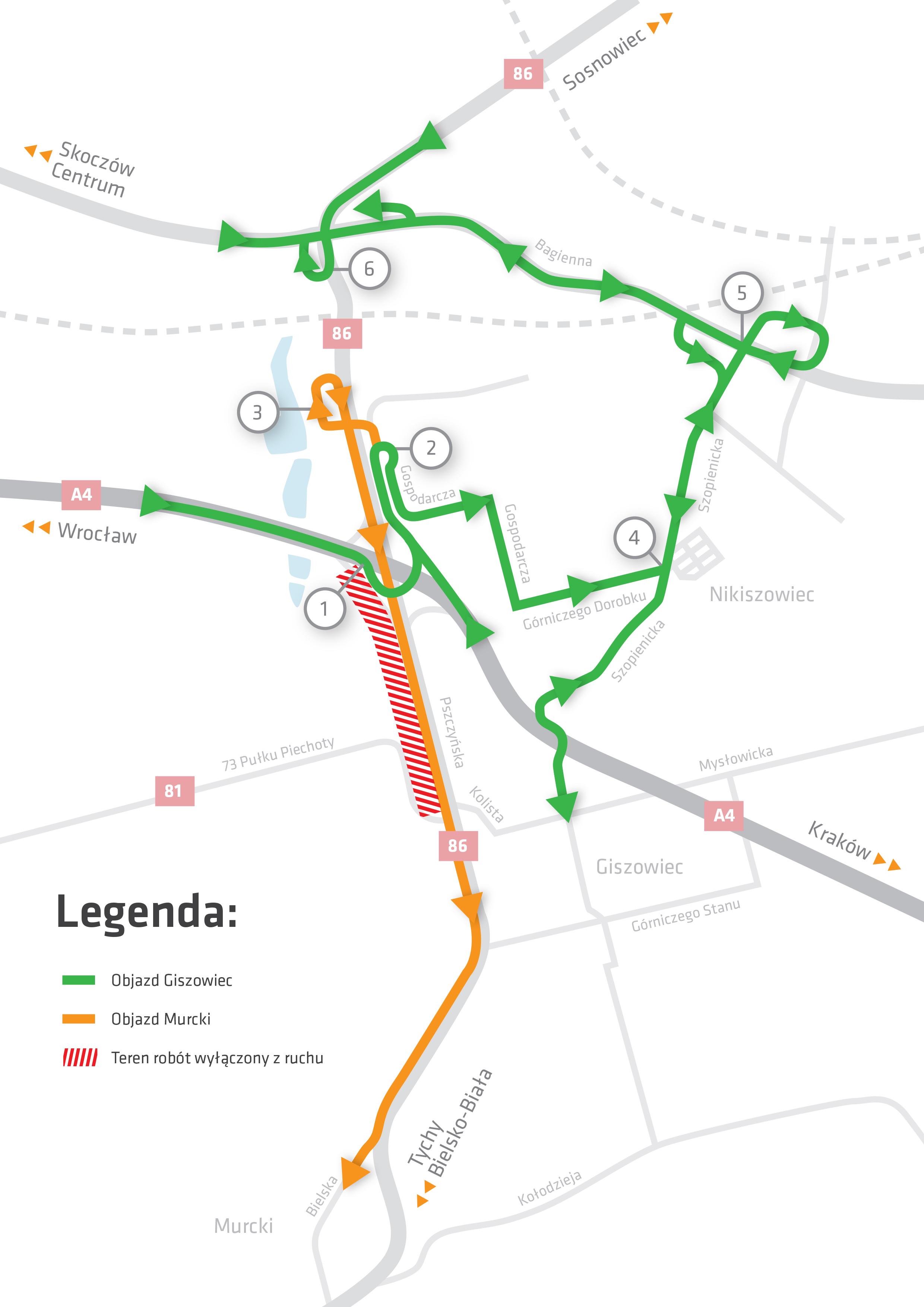 Proponowane warianty trasy omijające remont (źródło: UM Katowice)