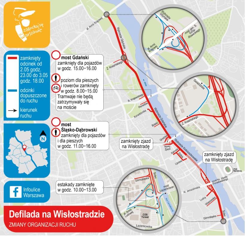 W trakcie trwania uroczystości policja i służby państwowe mogą operacyjnie zdecydować o wyłączeniu z ruchu także innych ulic. Źródło: UM Warszawa