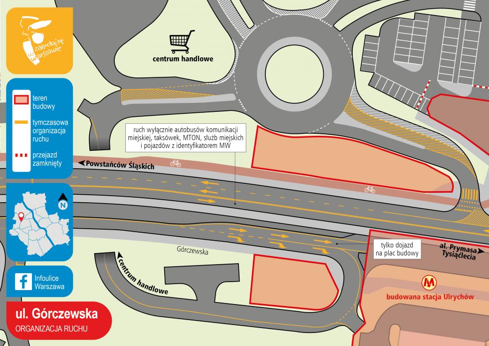 Ulica Górczewska - tymczasowa organizacja ruchu (fot. UMW)