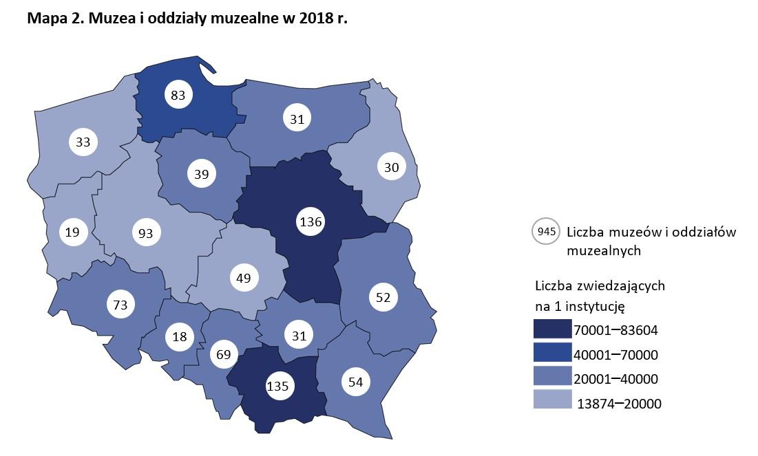 Muzea i oddziały muzealne w Polsce w 2018 r. Źródło: GUS