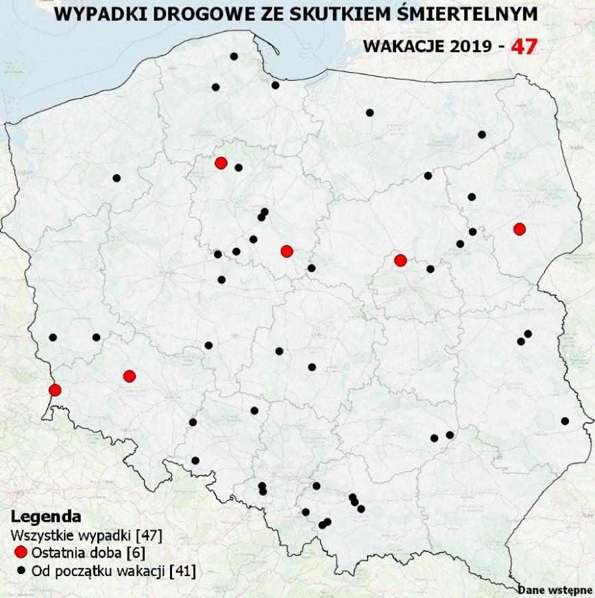 Mapa wypadków (fot. policja.pl)
