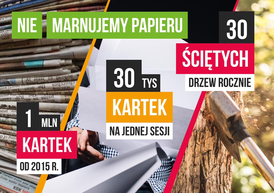 Szacunkowe oszczędności z racji odstąpienia papieru na obradach rady miejskiej w Łodzi(źródło: facebook/Marcin Gołaszewski)