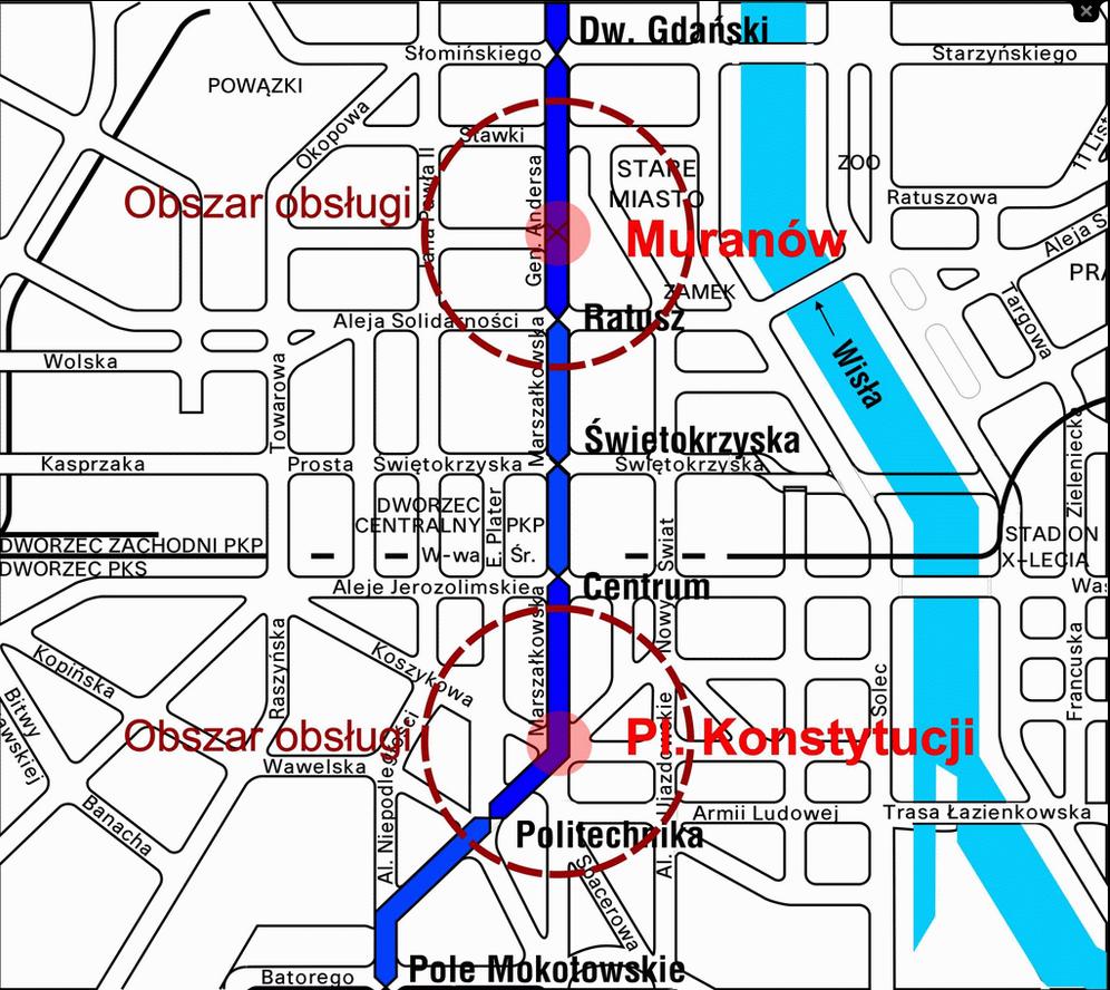 Nowe stacje mają powstać w centrum miasta (fot. Metro Warszawskie)