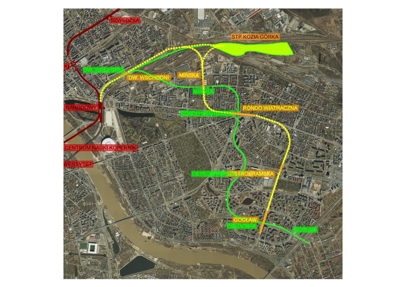 Warianty przebiegu linii M3 na Pradze-Południe (fot. UM Warszawa)