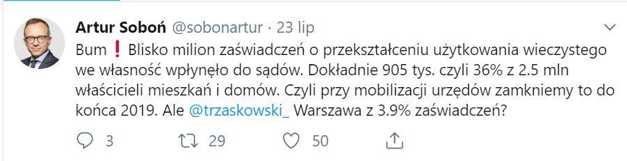 """Artur Soboń na Twitterze """"zaczepił"""" prezydenta Warszawy Rafała Trzaskowskiego."""
