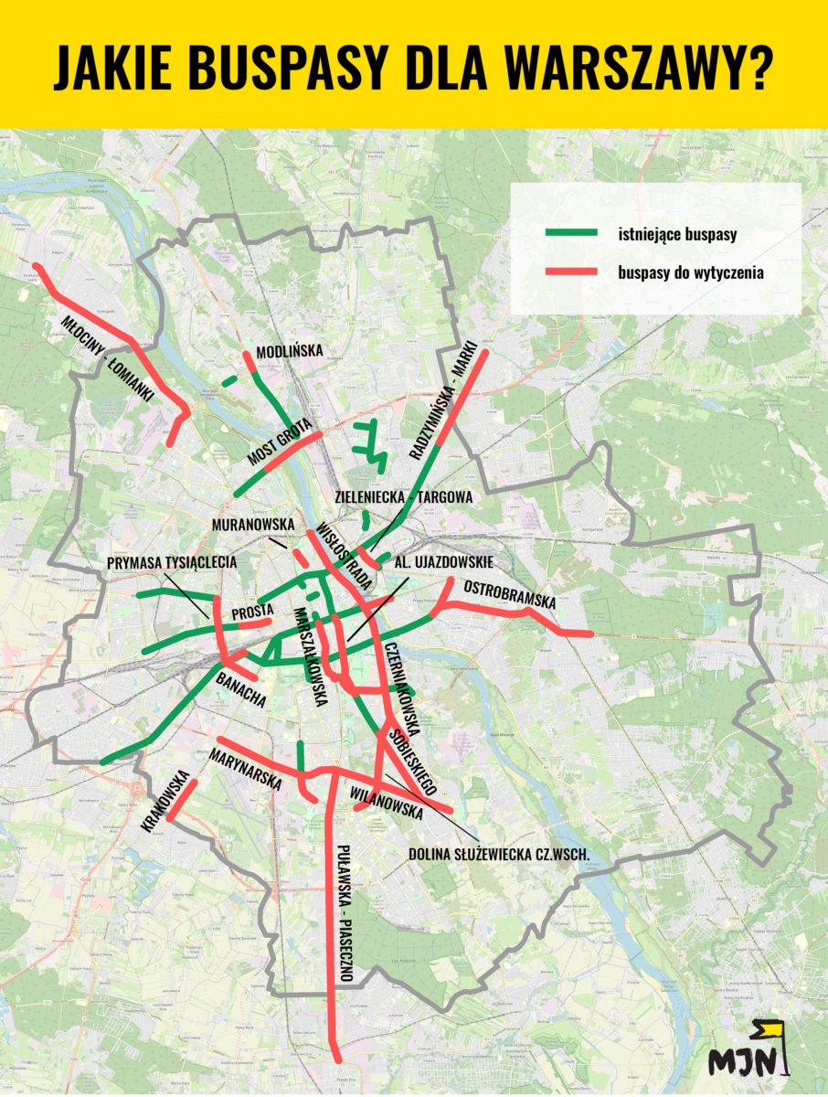 Mapa buspasów. Źródło: MJN