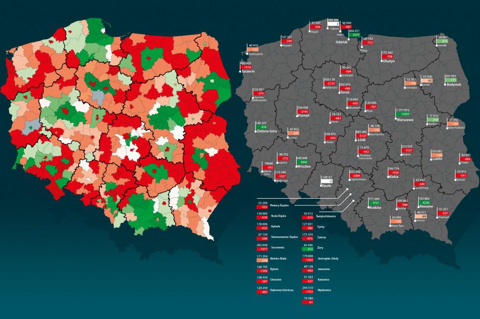 Tak wyludniają się polskie miasta i powiaty. Zobacz mapy