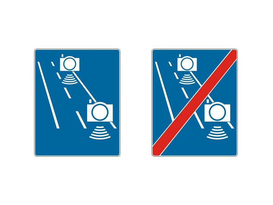 Bardziej czytelne oznakowanie ma pomóc rozróżnić znaki odcinkowego pomiaru prędkości od punktowego (fot.twitter.com/mi_gov_pl)