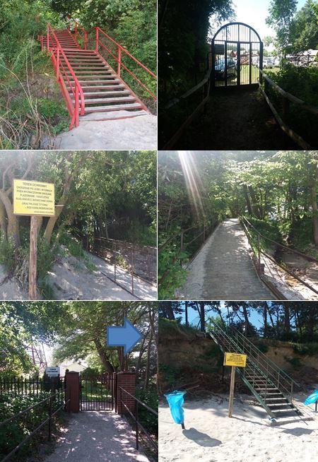 Przykłady prywatnych przejść na plażę w Gąskach oraz stanu technicznego części z nich (strzałka na szóstym zdjęciu wskazuje naruszoną konstrukcję umocowania schodów w skarpie). Fot. NIK