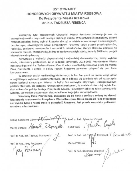List otwarty do prezydenta wystosowali Honorowi Obywatele Miasta Rzeszowa (fot. UMR)
