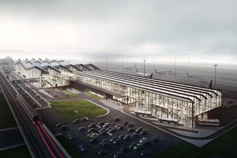Nowy pirs - wizualizacja, rzut od strony torów PKM. Nowa inwestycja ma być gotowa do końca 2021(fot. Port Lotniczy Gdańsk)