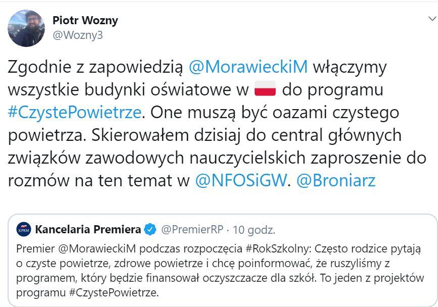 Włączymy wszystkie budynki oświatowe w Polsce do programu Czyste Powietrze - zapowiada Piotr Woźny.